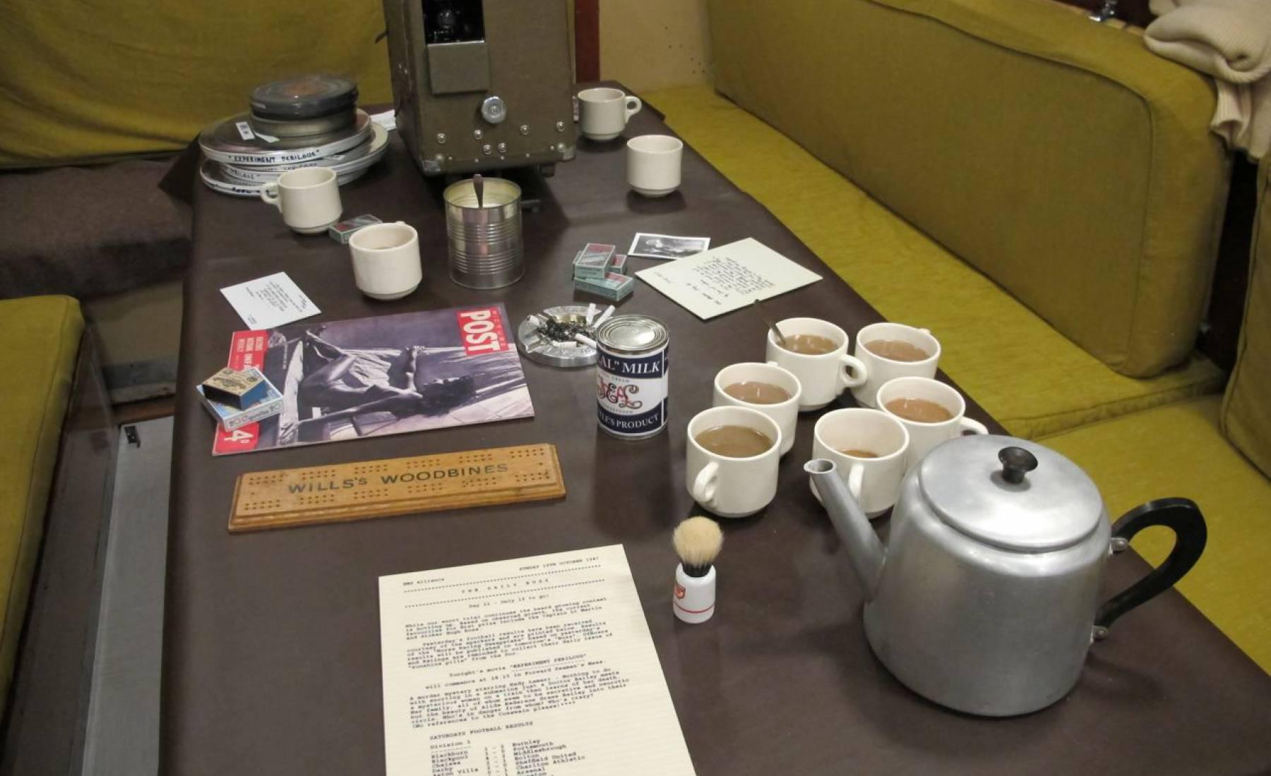 cups of tea, fake, coloured resin, submariner, HMS Alliance, submarine, teapot, cups spoons, sugar