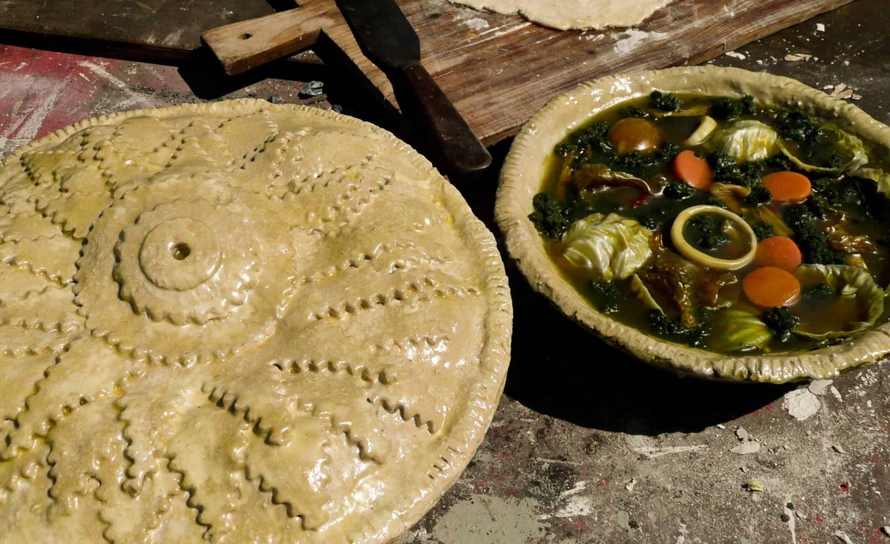 pies, pastry, uncooked, vegetable, chicken, gravy, s.s. Great Britain galley kitchen, feast, dinner, banquet